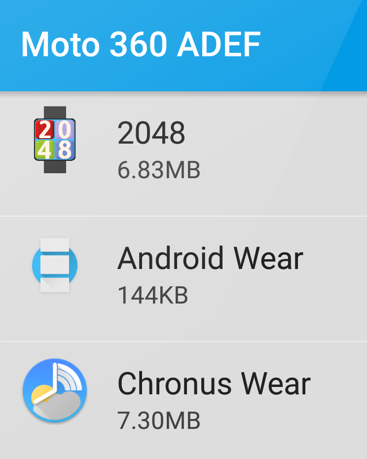 Image of Wear App Manager on Android phone